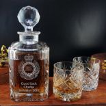 Military Emblem Decanter Set, Personalised, Crystal ref MFDS1